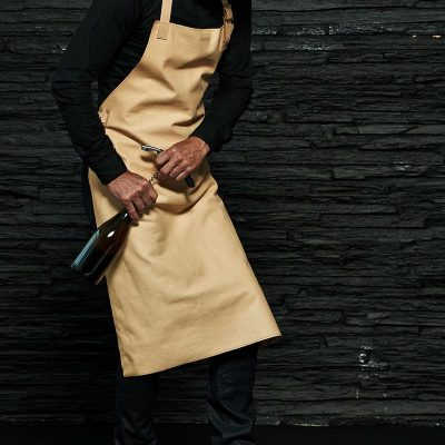 Sustainable leather apron with strap